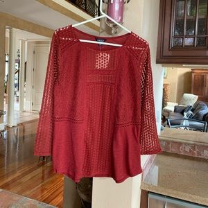 NWT Lucky Brand 3/4 sleeve shirt with lace details